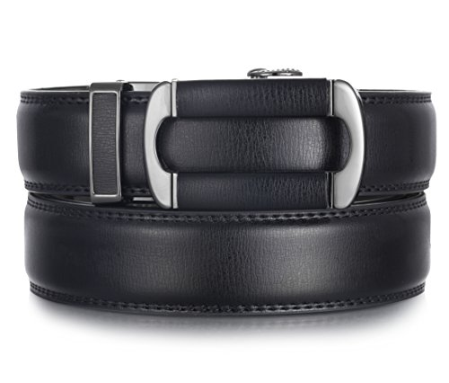 Mio Marino Ratchet Belts for Men - Genuine Leather Dress Belt - Automatic Buckle (Open Oval Buckle W Black Leather, Adjustable from 28