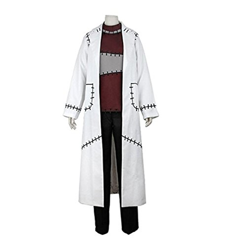 TISEA Halloween Cosplay Costume Jacket Professor White Patch Long Trench Doctor Lab Coat (M, Female)