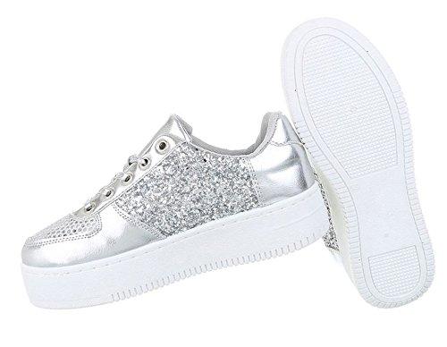 Damen low Sneakers | Sneaker Flach | Sportliche Glitzer Freizeitschuhe | Halbschuhe Plateau Sohle | Metallic Partyschuhe | Schuhcity24 Modell Nr2Silber