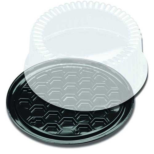 Displaycake Black 1-2 Layer Cake Display Container with Clear Dome Lid, 8 inch -- 160 per case.