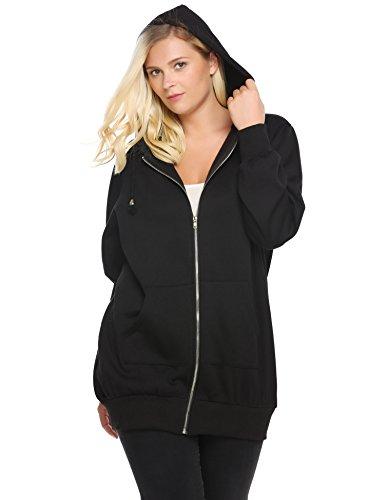 ize Casual Zip up Fleece Hoodies Tunic Sweatshirt Long Hoodie Jacket Black 24 ()