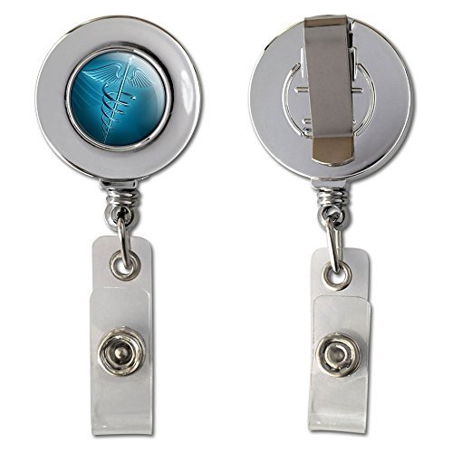 Medical Caduceus Symbol - EMT RN MD Retractable Reel Chrome Badge ID Card Holder Clip