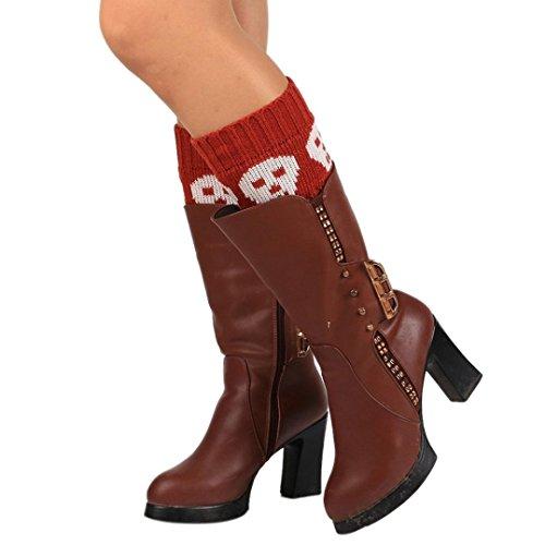Oksale Women Winter Warm Skull Short Socks Knitted Leg Warmers Boot Cover (Wine Red) (Green Stripes Wine)