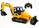 Top Race 8 Channel Full Functional RC Excavator Backhoe Loader, Battery Powered Electric RC Remote Control Construction Tractor (TR-119)