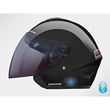 Casco Moto Jet origine con interfono Bluetooth integrado Modelo TORNADO negro brillante Extra Small