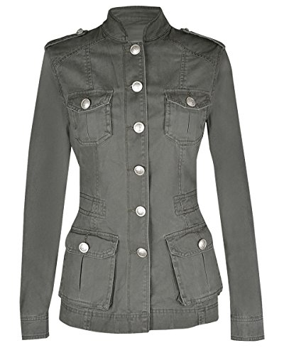 Noroze Ladies Military Style Summer Jacket (12(UK 16), Silver Button Khaki)
