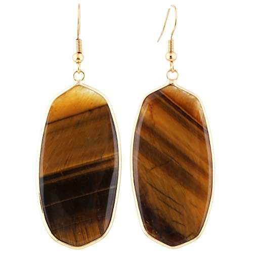 SUNYIK Women's Tiger's Eye Stone Oval Dangle Dangle Earrings Gold ()