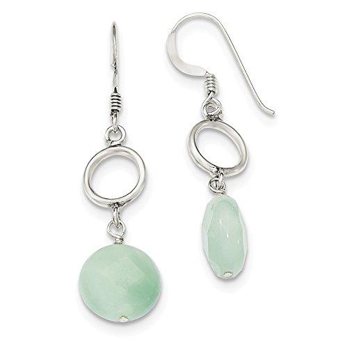 Sterling Silver Shepherd hook Green Dyed Jade Earrings