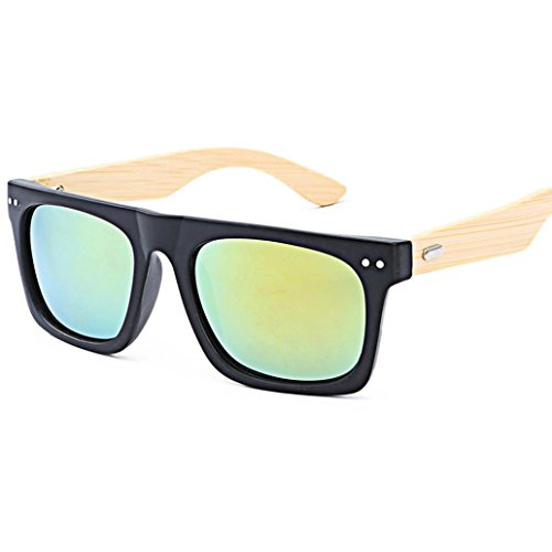 BEUU Vintage Sunglasses For Men And Women Classic Ladies Bamboo Travel Glasses Leg Wooden (E) Bamboo Bobble Head