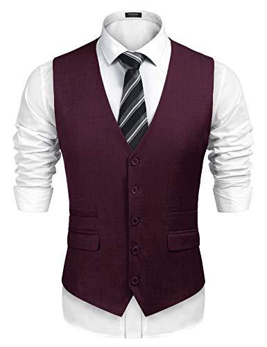 Classic Vest - COOFANDY Men's Business Suit Vest,Slim Fit Skinny Wedding Waistcoat (Medium, Wine Red)