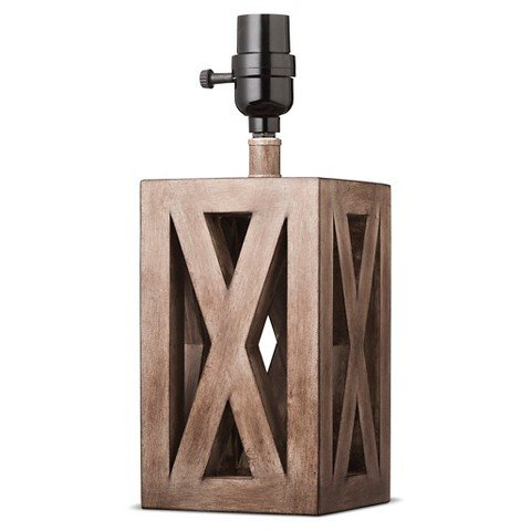 Washed Wood Box Lamp Base Small - Threshold&#153