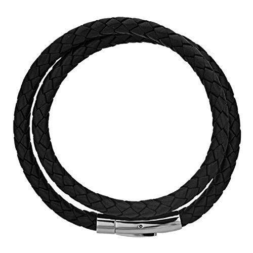INOX Men's Double Round Black Braidid Genuine Leather Bracelet With Stainless Steel Clasp