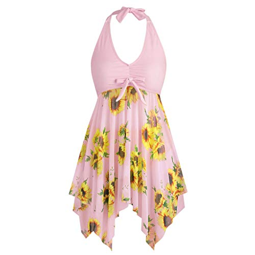 Lefthigh Women's High Waist Sunflower Print Swimsuit,Bowknot Halter Tankini Set Swimwear Large Size Pink ()