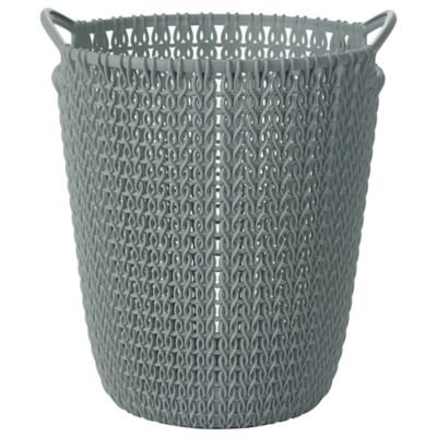 Mini Knit Effect Blue Waste Paper Basket (23cm diameter excluding handles) curver