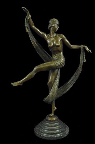 ...Handmade...European Bronze Sculpture Signed Fanny Rozet Art Deco Ribbon Dancer Flapper Jazz (EP-209-EU) Bronze Sculpture Statues Figurine Nude Office & Home Décor Collectibles Sale Deal (Flapper Dancer)