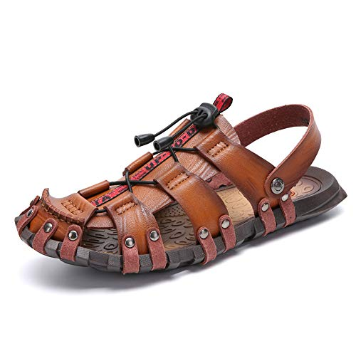 CEKU Men's Outdoor Casual Beach Sports Hiking Summer Closed Toe Slippers Sandals Fisherman Athletic Shoes Brown 10.5 D(M) US 45