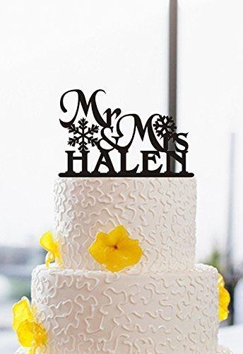 Amazon.com: Personalized Mr and Mrs Last Name Snowflake Wedding Cake ...