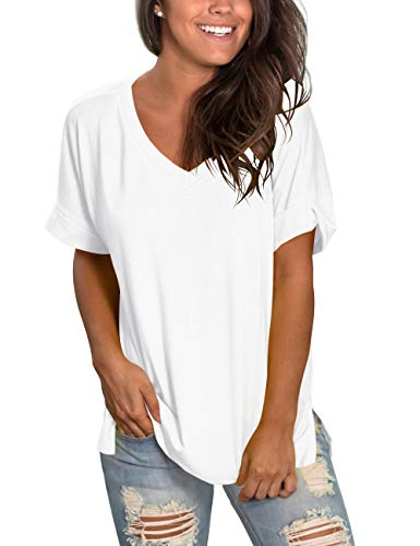 liher Women's Short Sleeve V-Neck Shirts Loose Casual Tee Shirt Tops (Shirts And Tops)