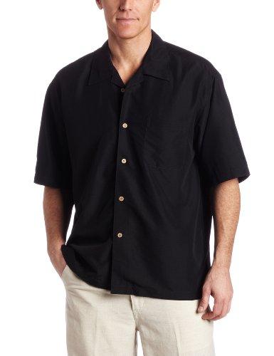 (Cubavera Men's Short Sleeve Shadow Box Camp Shirt, Black, Small)
