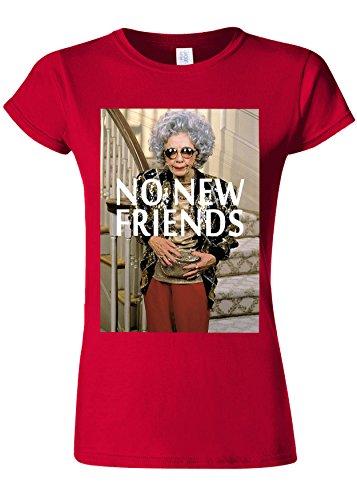 メルボルン路面電車失礼No New Friends Funny Novelty Cherry Red Women T Shirt Top-XL