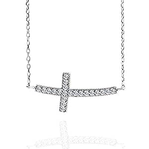 Spoil Cupid Rhodium Plated 925 Sterling Silver Cubic Zirconia Curved Sideways Cross Chain Necklace, 18""