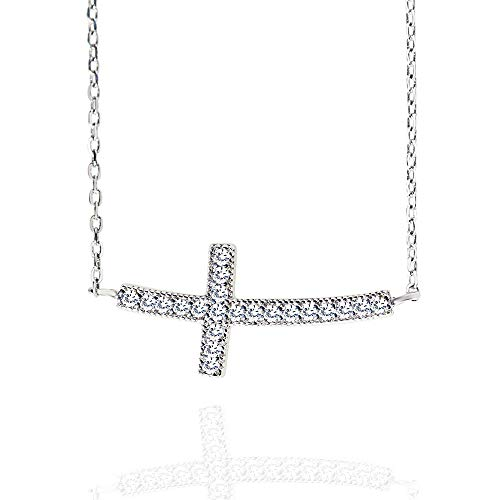 """Spoil Cupid Rhodium Plated 925 Sterling Silver Cubic Zirconia Curved Sideways Cross Chain Necklace, 18"""""""
