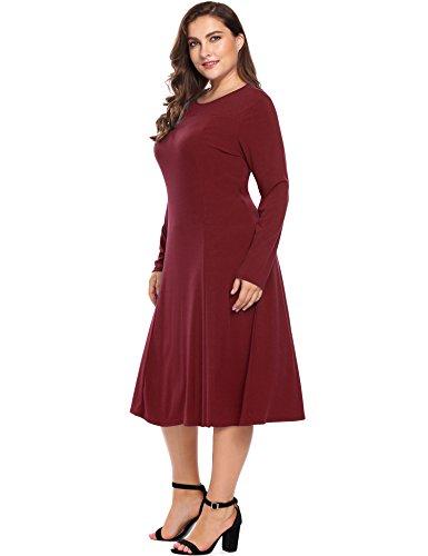 Informal Wedding Gown Long Dress - Plus Size Women's Long Sleeve A-Line and Flare Midi Dress -Long Party Wedding Dress