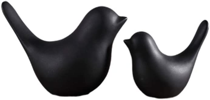 VOSAREA 2pcs Ceramic Bird Figurines Home Tabletop Decoration Ornament Black and White Mini Bird Animal Sculptures for Home Garden Office