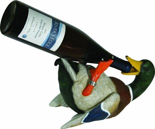 Rivers Edge Hand Painted Duck Wine Bottle Holder (Bottle Vine Holder)