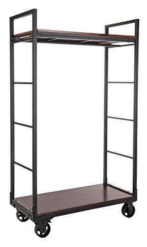 Displays2go Clothing Industrial Style Clothing Rack Cart with Shelves – Black, Mahogany (WHLRKBK242) by Displays2go