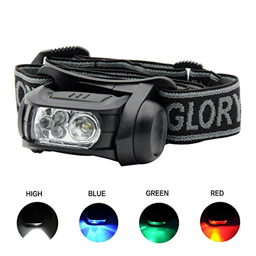 GLORYFIRE Headlamp LED 4 Colors(White, Red, Blue, Green) Headlight Battery Powered Helmet Light Camping Running 3 AAA Batteries Powered Water&Shock Resistant Fixation on Molle System ()