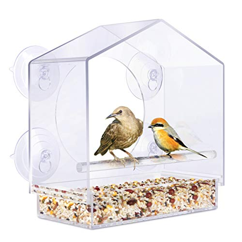 YUT Clear Window Bird Feeder for Wild Birds, Removable Tray Acrylic Outdoor Window Bird House with Drain Holes, 4 Extra Super Strong Suction Cup, Transparent Viewing, Outside Hanging Birdhouse Kits