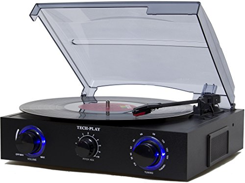 TechPlay BK, 3 Speed turntable control, Radio, RCA Out Jack, and Built-in LED