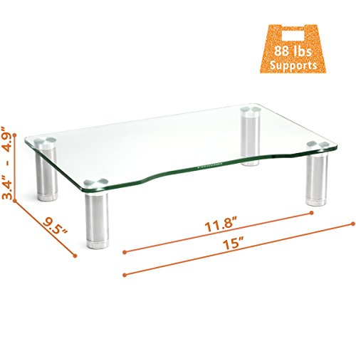 Clear Tempered Glass Computer Monitor Riser with Height Adjustable Multi Media Desktop Stand for Flat Screen LCD LED TV, Laptop/Notebook/Xbox One,HD01T-002 by Hemudu (Image #2)'
