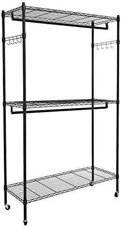 Amazon.com: Homdox - Armario de doble barra con 3 estantes ...