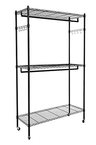 Homdox Double Rod Closet 3 Shelves Wire Shelving Clothing Rolling Rack Heavy Duty Garment Rack with Wheels and Side -