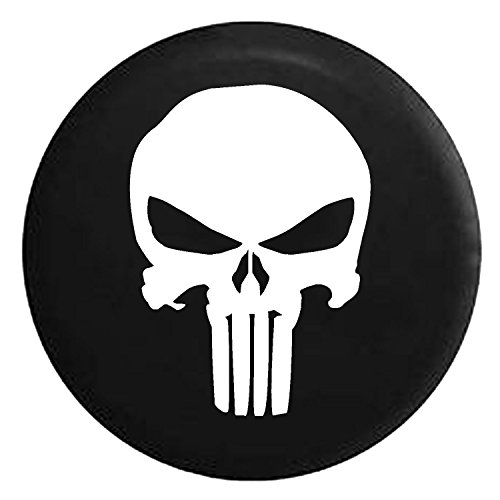 Punisher Skull Military Sniper Spare Jeep Wrangler Camper SUV Tire Cover White Ink 33 in