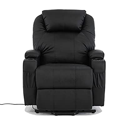 Alitop Electric Real Leather Recliner Armchair Lift Chair Wall Hugger Lounge Seat Black