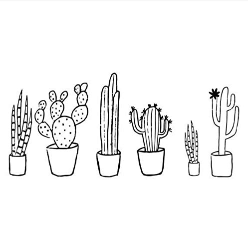 Lahand Cactus Black & White Set Wall Decal Plants Spring Cactus Pot Plants Nature Green Living Room Decals Home Decorations 93x42cm