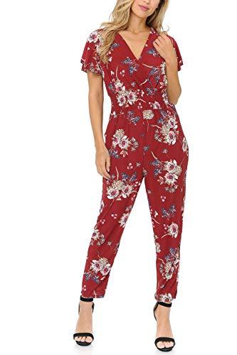 - Auliné Collection Womens Short Cap Sleeve V-Neck Long Pants Romper Jumpsuit - Crimson Garden Floral S/M
