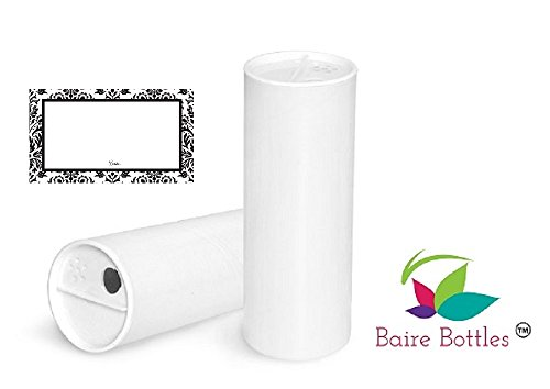 4 oz Paperboard White Powder Tubes with Sifter Caps- 6 Pack with DAMASK WATERPROOF LABELS