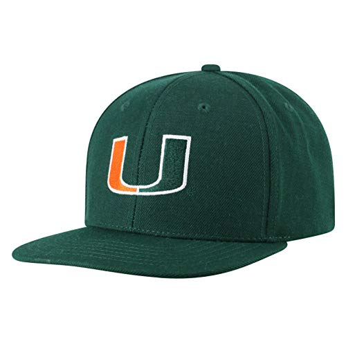 Top of the World NCAA Men's Flat Brim Snap Back Team Icon Hat, Miami Hurricanes Green, Adjustable - Miami Hurricanes Hat Cap