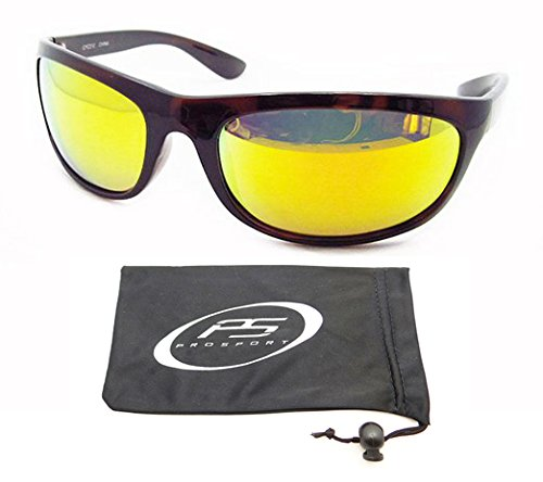 Orange Mirrored Polarized Sunglasses with Anti Reflective Coating with Tortoise Shell Brown Frames for Fishing, Kayaking, Golf, Boating, Cycling, Motorcycle Riding, Running, Driving and Outodoor Activities. Free Microfiber Cleaning Case with Drawstring.