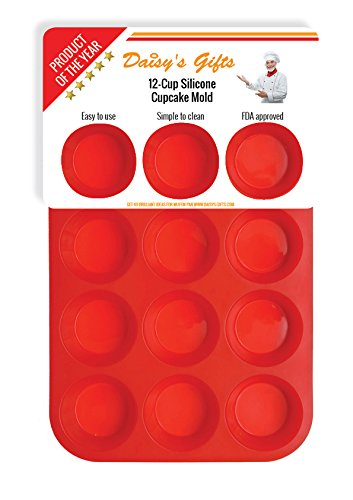[Silicone Muffin Pan / Tin Cupcake Mold by Daisy's Dream - 12 Cup Silicone Pan / Baking Tray - Easy To Use - Simple To Clean, Red] (Halloween Cupcakes Frosting Recipe)