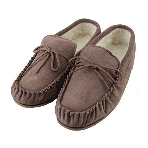 Deluxe Sheepskin Slippers Suede Upper Wool Hard Sole Camel Mens Moccasin rUqvrw