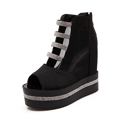AllhqFashion Women's PU Solid Zipper Peep Toe High Heels Sandals Black