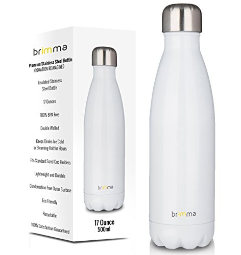 Brimma Vacuum Insulated Water Bottle - Double Walled Stainless Steel Travel Bottle For Hot & Cold Drinks - 100% Sweat & Leak Proof Portable Thermos Flask - 17 Oz (500 ml)
