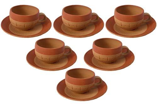 Odishabazaar Cup Set Handcrafted Terracotta Pottery Chai (Tea) Kulhad/Kullar/Cups with 6 Plate Traditional Tea/Coffee Cups Clay Tea Mug Set of (6 Cup & 6 Saucer) (brown) ()