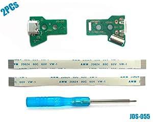 2PCs JDS-055 Tarjeta de Puerto de Carga Micro USB para Mando PS4, Replacement Placa de Conectores de Carga Adaptador con Flex Cable para Controlador ...