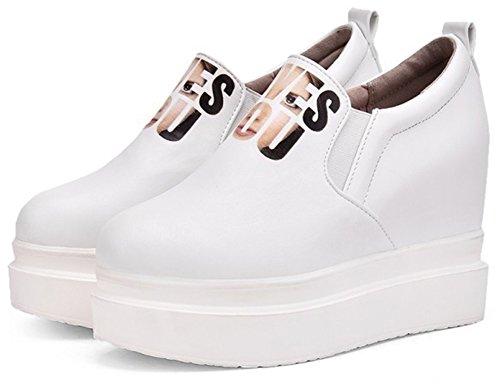 Summerwhisper Womens Trendy Elastic Low Top Platform Loafers Shoes Heighten Inside Slip-on Sneakers White D00fdmo4